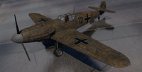 3D german ww2 fighter 01 model