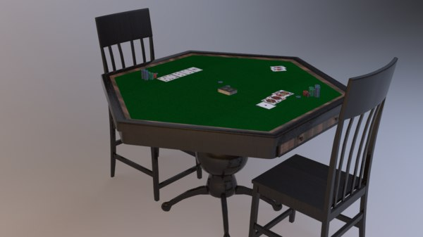 poker table cards 3D