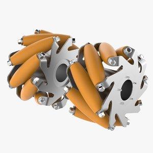 3D model aluminium mecanum wheel v2