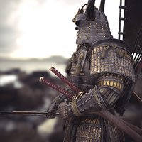 samurai character unity rigged 3D model