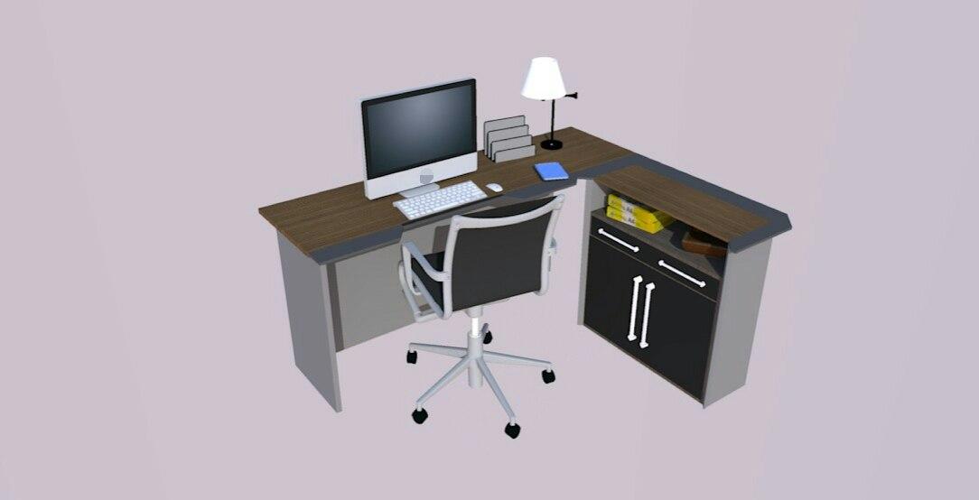 3D model office desk modeled