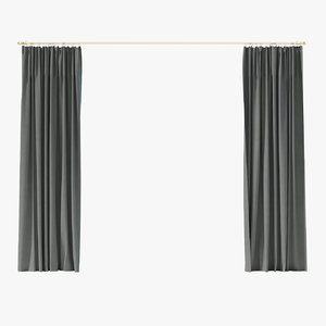 grey curtains 3D model