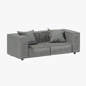 3D grey fabric sofa model