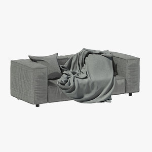 3D grey fabric sofa blanket model