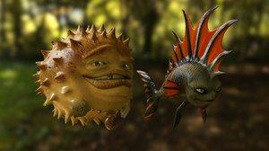 3D fish cartoon character