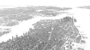 city new york buildings 3D model