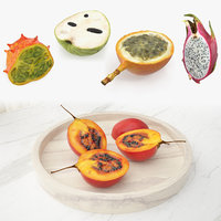 3D cutted exotic fruits