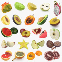 Cross Section Fruits 3D Models Collection 5