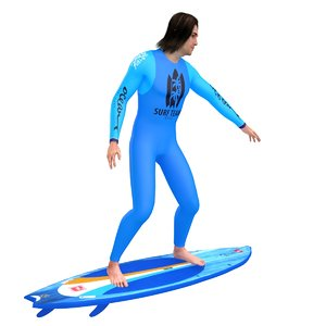 rigged surfer 3D model