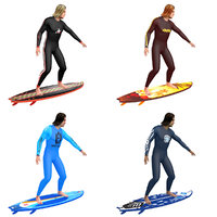 3D pack rigged surfer model