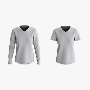 3D cotton female t-shirts dropped model