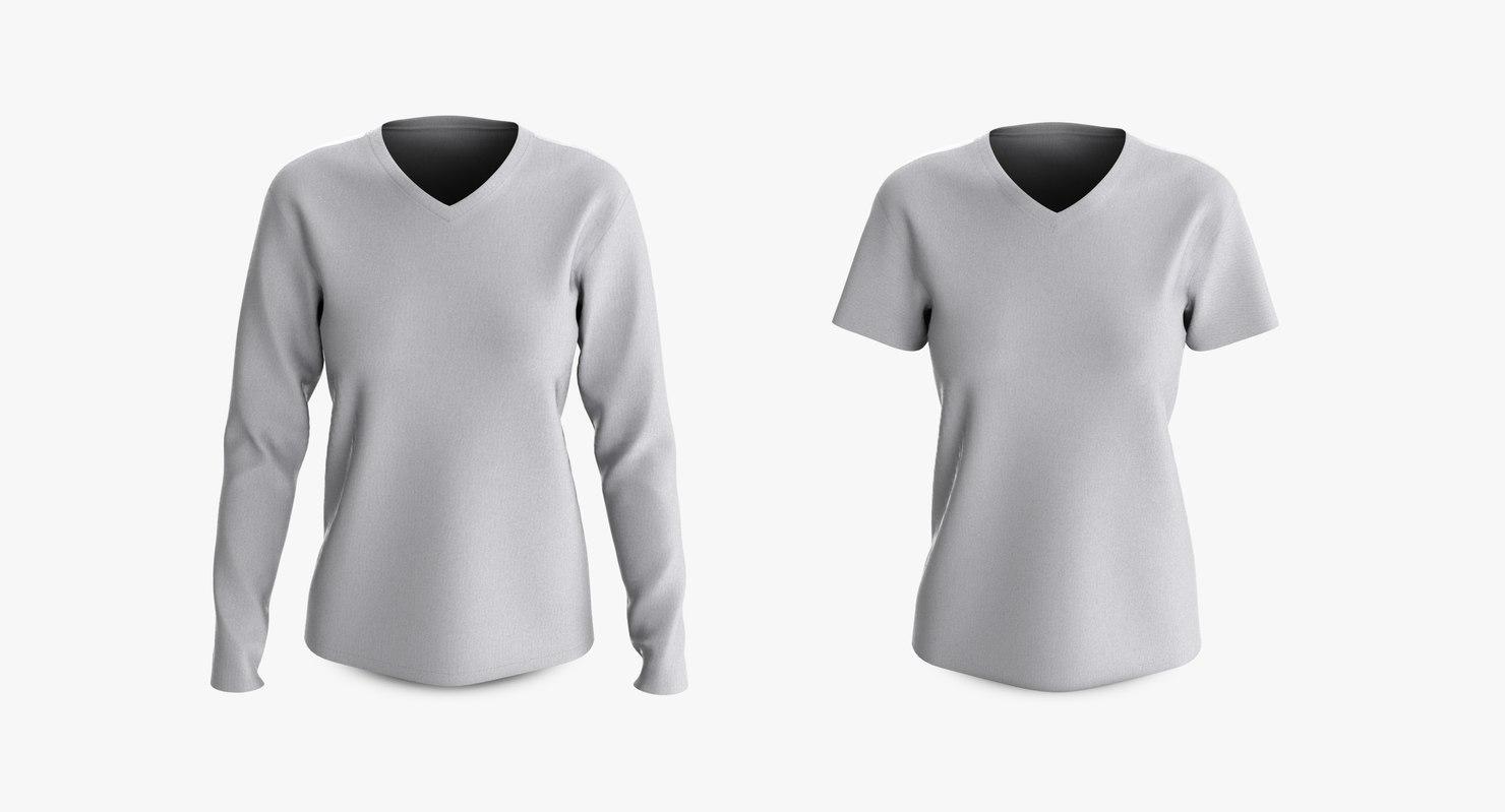 3D cotton female t-shirts dropped model