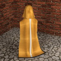 3D hooded cloak cloth model