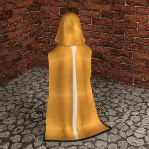 3D hooded cloak cloth model