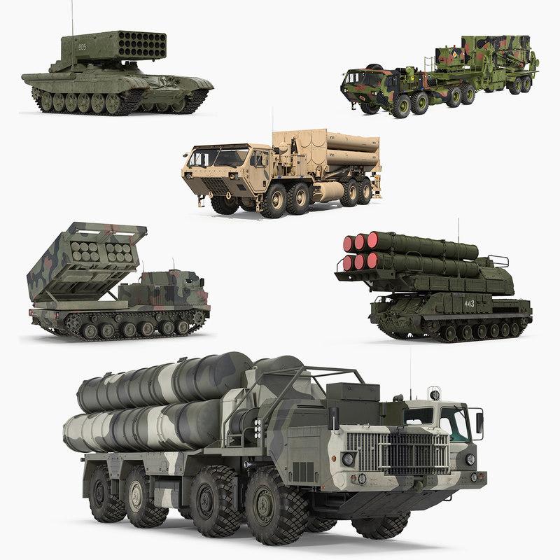 military rocket launcher vehicles 3D model