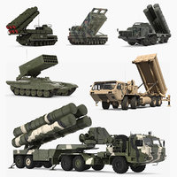 Military Rocket Launcher Vehicles Rigged 3D Models Collection