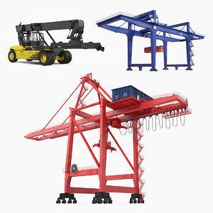 3D port cranes 2 model