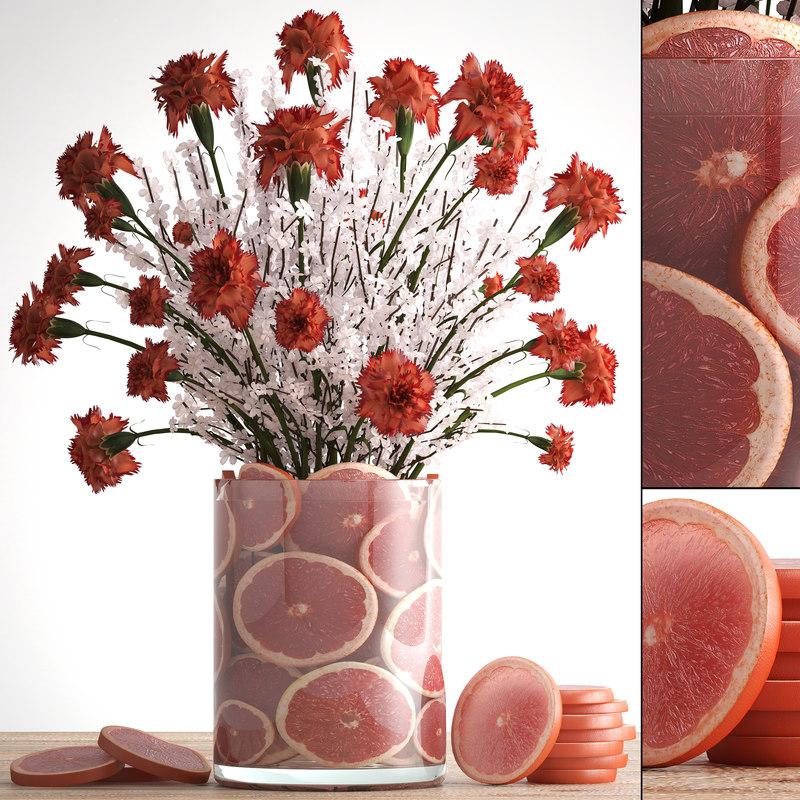 decorative bouquet flowers 3D model