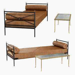3D model daybed table rare bronze
