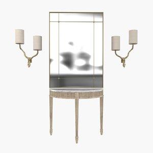 3D mirror lamp gustavian white