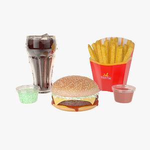 burger fries cola 3D