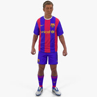 3D soccer football player barcelona model