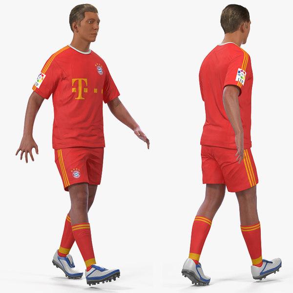 3D soccer football player bayern model