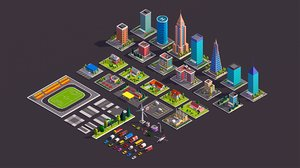 3D model cartoon city buildings cars