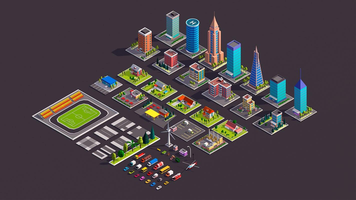 3D model cartoon city buildings cars
