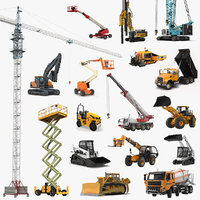 3D construction vehicles rigged big model