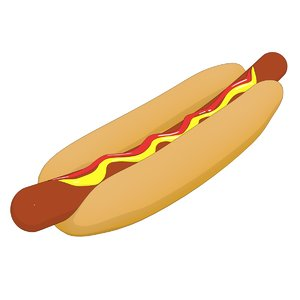 cartoon hot dog 3D