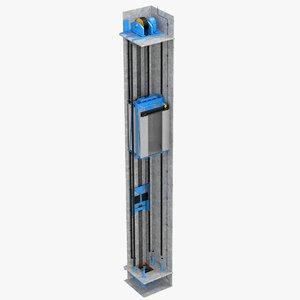 3D elevator shaft cutaway