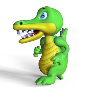 3D crocodile toon model