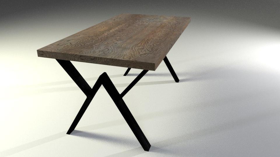 3D woodern loft table model