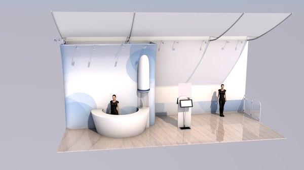 3D model kiosk exhibit stand 9m