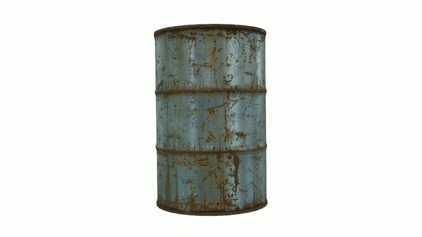 3D model steel barrel pbr materials