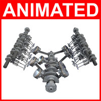 rigged v8 engine cylinders 3D model