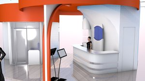 3D kiosk expo exhibit stand model