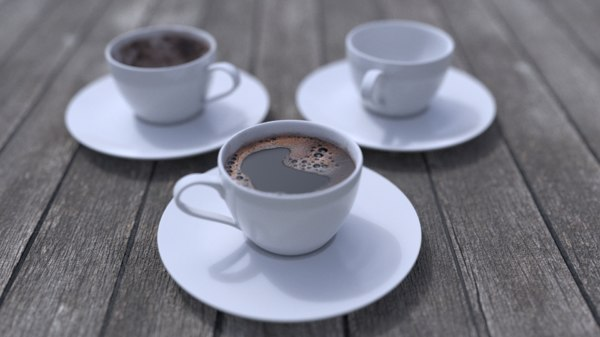 3D turkish coffee cups