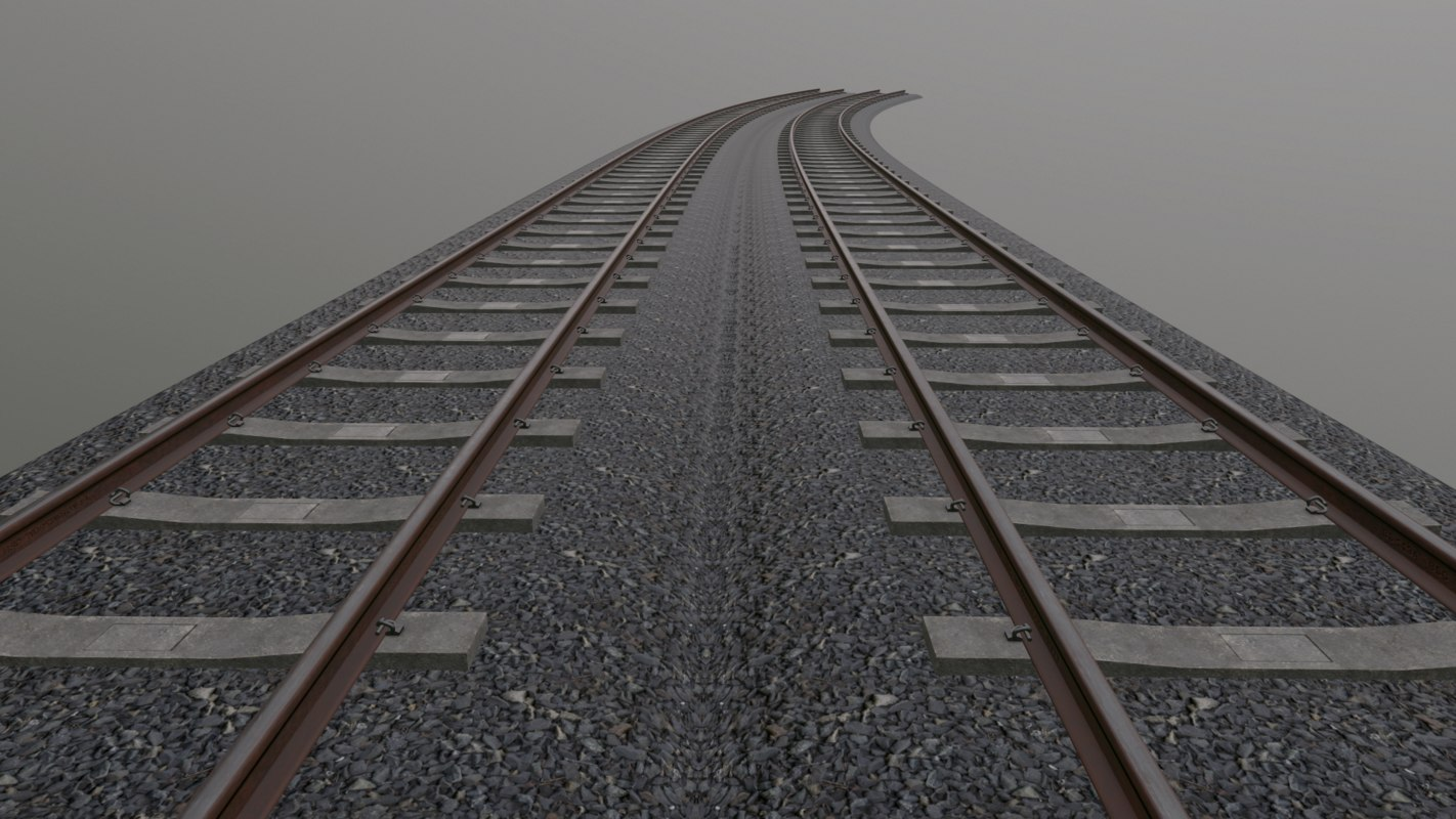 3D track concrete sleepers model