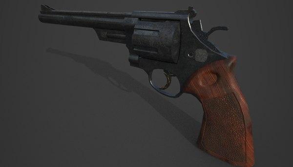 3D joker themed revolver weapon model