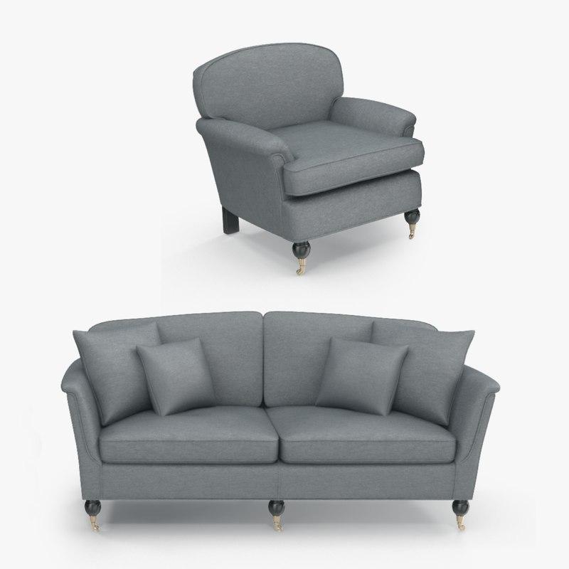 sofa armhair duresta 3D model