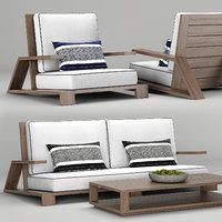 RH Outdoor Olema teak sofa