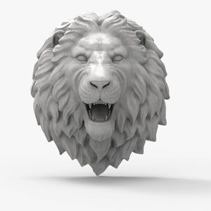3D model lion head scupture
