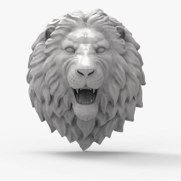 3D model lion head scupture