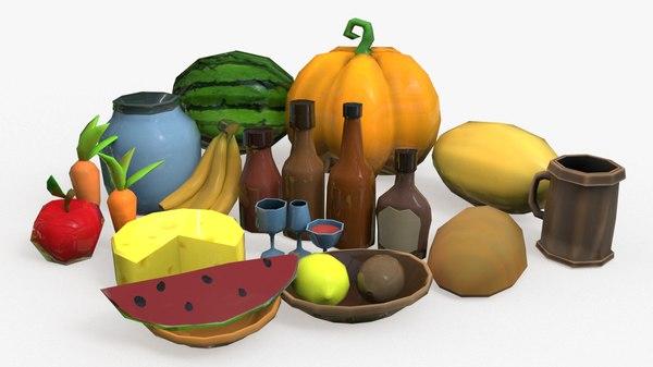food cartoon fruit pack 3D