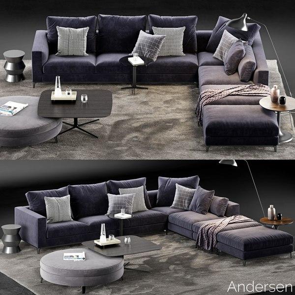 minotti andersen sofa 5 3D model
