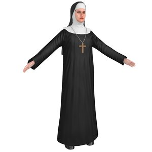 3D model people nun human