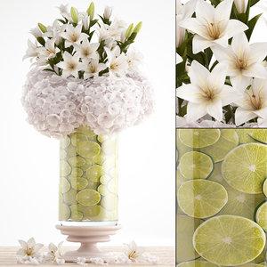 3D decorative bouquet flowers model