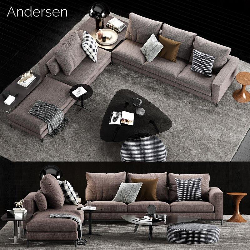minotti andersen sofa 4 3D